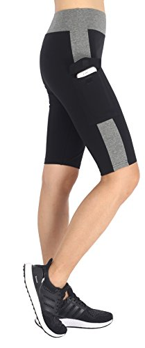 Neonysweets Womens Capri Tights Fitness Running Yoga Pants Leggings Black Gray M