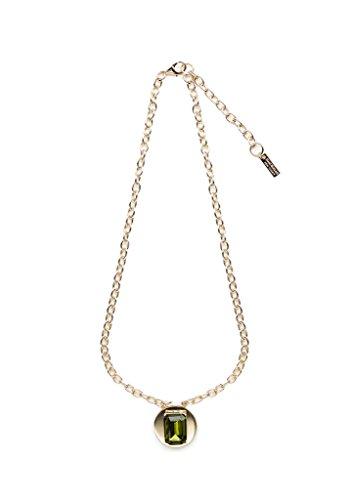 Olivine Gemstone Gold Disc Necklace