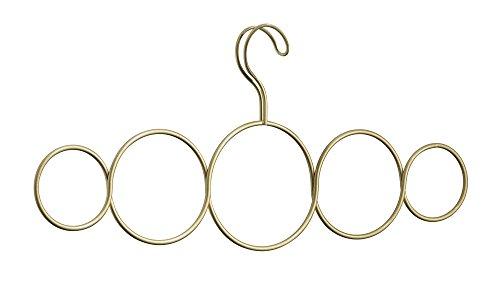 InterDesign - Gruccia con 5 anelli per sciarpe, cravatte, cinture e scialli, colore: Oro perlato