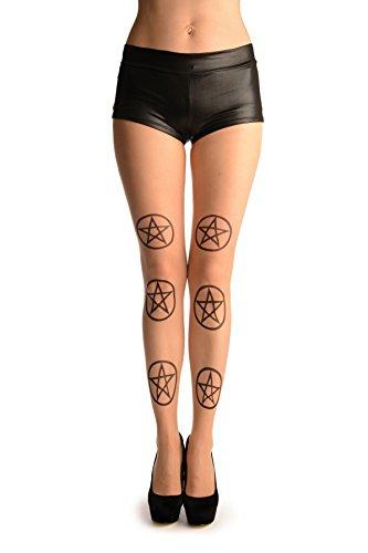 Black Printed Pentagram On Nude (Halloween) - Beige Collant Taglia Unica (34-38)
