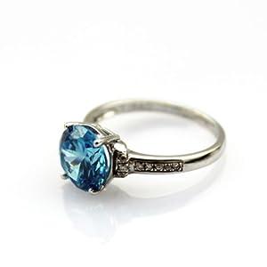 EMERALD CUT Blue Cz /& White Topaz .925 Sterling Silver Ring Size 5-10