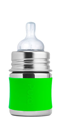 Pura Kiki 5 oz Stainless Steel Infant Bottle with Silicone Sleeve, Green (Plastic Free, NonToxic Certified, BPA Free)
