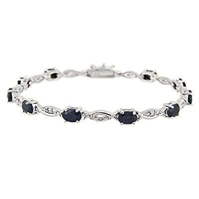 Sterling Silver 6.ct Sapphire & Diamond Accent Swirl Bracelet