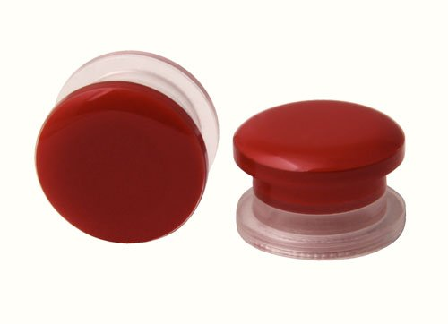 Pair of Acrylic Red Button Style Design - Screw ON Ear Plugs - 9/16