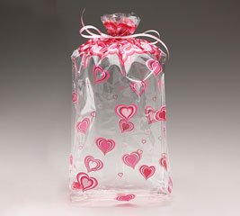 (100) Groovy Heart Cellophane Bags