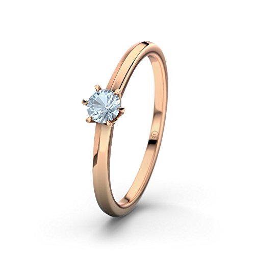 21DIAMONDS Women's Ring Mérida Blue Topaz Brilliant Cut Engagement Ring, 18 K Rose Gold Engagement Ring