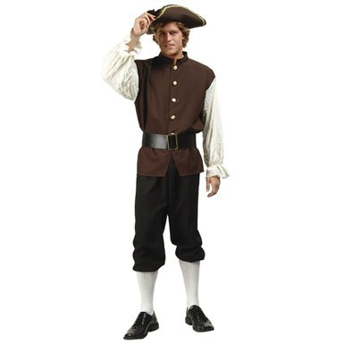 Adult 3Pc. Colonial Man Costume (Hat, hose, shoes not included)