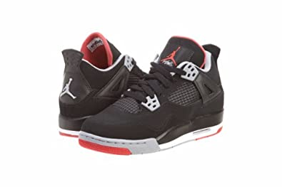 Mens Nike Air Jordan Retro 4 Basketball Shoes Black / Cement Grey / Fire Red 308497-089 Size 7.5
