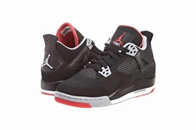 Youth Nike Air Jordan 4 Retro (GS) Basketball Shoes Black / Cement Grey / Fire Red 408452-089 Size 6.5