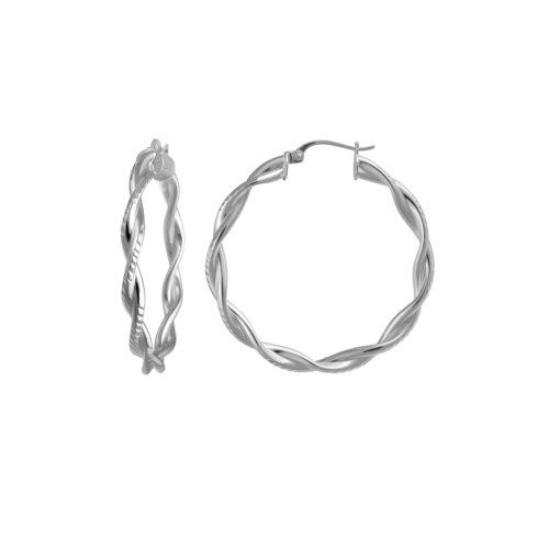 Sterling Silver Double Row Twist Diamond Cut Hoop Earrings (1.38