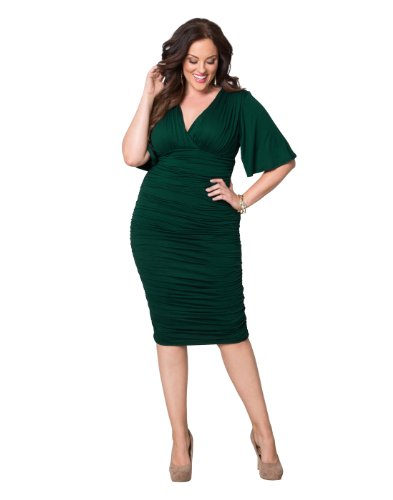 Rumor Ruched Dress (1X, Green With Envy)