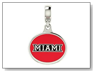 Miami of Ohio Collegiate Drop Charm Fits Most Pandora Style Bracelets Including Pandora Chamilia Zable Troll and More. High Quality Bead in Stock for Fast Shipping.