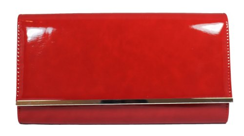 Heidi Oversize Patent Leather Style Clutch Bag Red