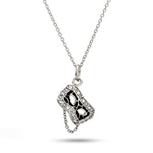 Sterling Silver and CZ Masquerade Mask Necklace Size 18 inches (16 inches 18 inches 20 inches Available)