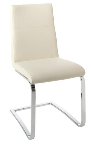 Cantilever Cream Leather Dining Chair Chrome Frame