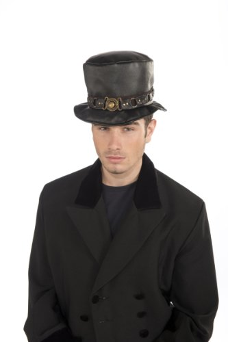 Rubie's Costume Steampunk Short Top Hat With Belt and Brass Buckle
