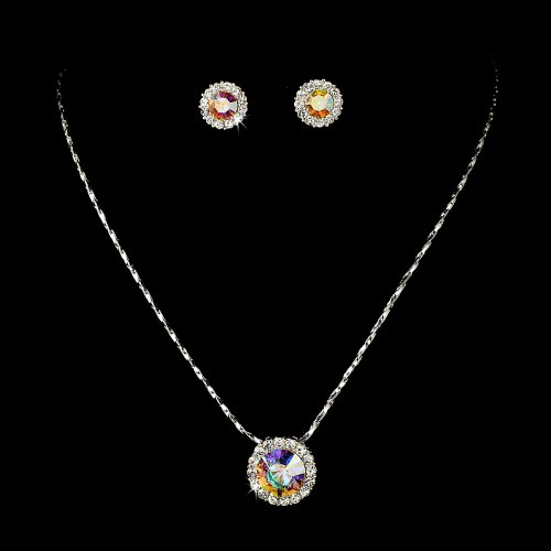 Silver AB Crystal Rhinestone Pendant Bridal Wedding Necklace Earring Set