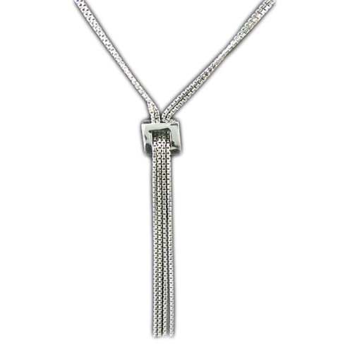 Multi String/chain Sterling Silver Necklace with Tassel Pendant