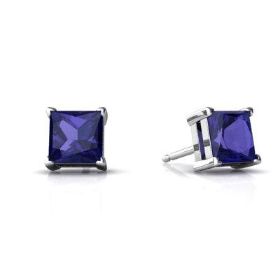 Created Sapphire 14ct White Gold Stud Earrings
