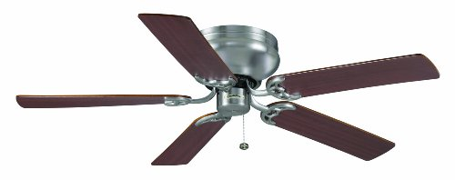 Casablanca Fan Company 82U45D Four Seasons III Hugger 52-Inch Ceiling Fan, Brushed Nickel Finish with Reversible Mahogany/ Dark Walnut Blades