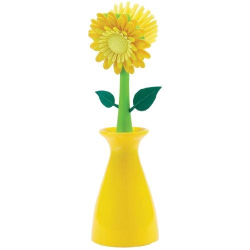 Boston Warehouse Flower Kitchen Brush with Holder, Yellow