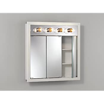 Jensen 755371 Granville Lighted Medicine Cabinet with Four Bulbs, Classic White, 30-Inch by 30-Inch by 4-3/4-Inch