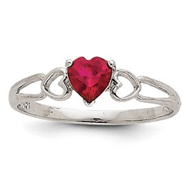 Genuine IceCarats Designer Jewelry Gift 14K White Gold Ruby Birthstone Ring Size 6.00