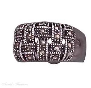 Sterling Silver Marcasite Basket Weave Ring Size 7