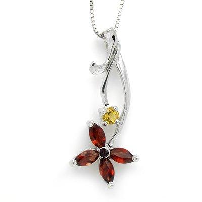 100% Genuine Garnet Citrine 925 Silver White Gold Plating Necklace Gem Jewellery