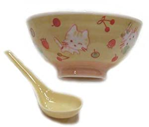 Yellow small rice bowl with cat design and spoon set - hand painted porcelain