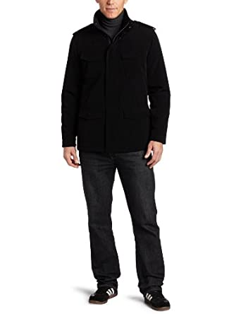 Perry Ellis Portfolio Men's Polytech Military Jacket, Black, Large