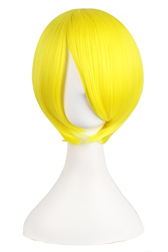 MapofBeauty Short Straight Cosplay Costume Wig Party Wig (Yellow)