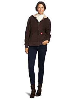 Dickies Women's Sherpa Bonded Fleece Hoodie, Chocolate Brown, X-Large