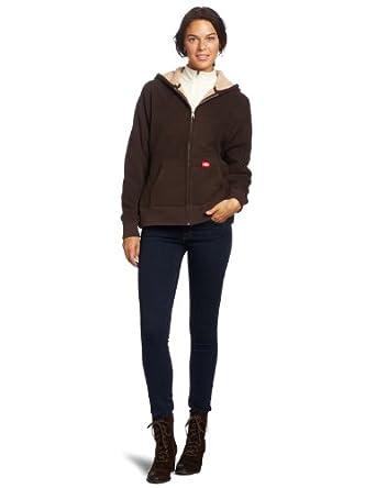 Dickies Women's Sherpa Bonded Fleece Hoodie, Chocolate Brown, X-Small
