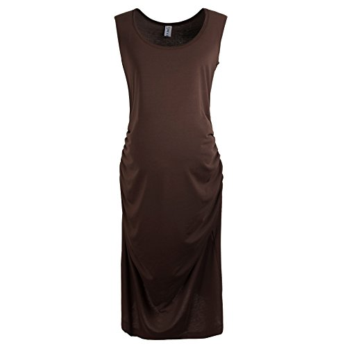 [Gritu Women's Sleeveless Side Shirring Waist Maxi Midi Maternity Dress Coffee Medium] (Maternity Fancy Dress Uk)