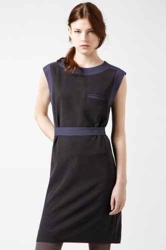 Sleeveless Silk Pique Tank Dress With Contrast Neckline