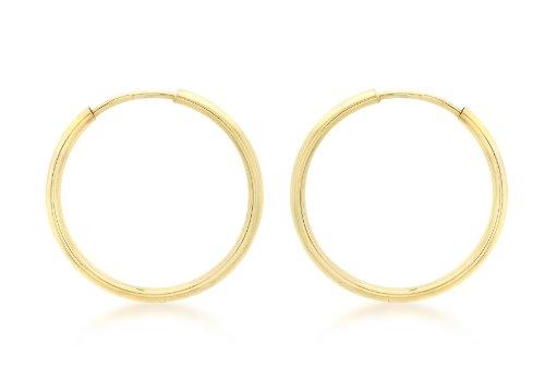 9ct Yellow Gold 22mm Plain Hoop Earrings