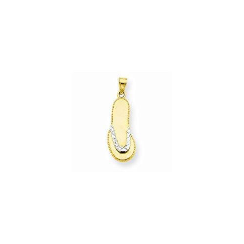 10K & Rhodium Flip Flop Pendant, Best Quality Free Gift Box Satisfaction Guaranteed