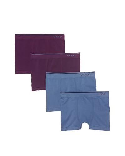 Unno 4tlg. Set Boxershorts lila/blau