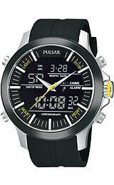 Pulsar Men's Active Sport Black Urethane Strap Black Dial Watch Hourly Chime.