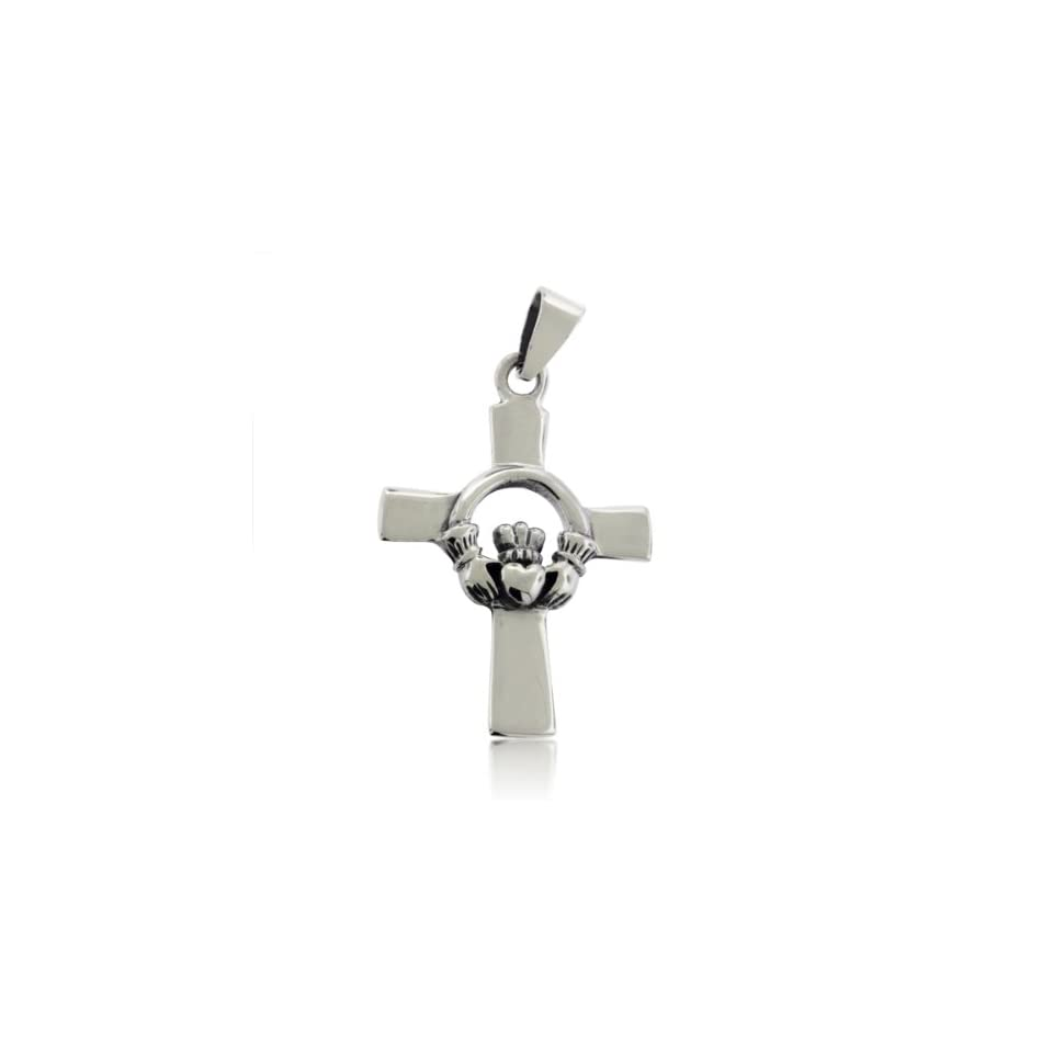 .925 Sterling Silver Claddagh Celtic Cross Pendant