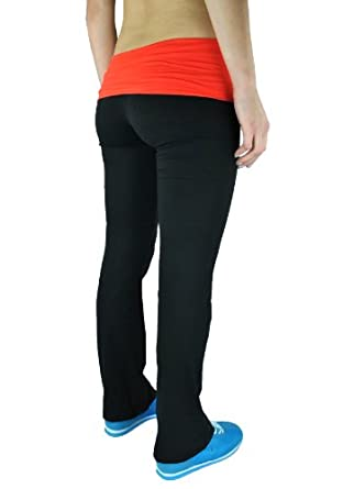 Fold Over Contrast Waist Lounge Pants Cotton Spandex (Juniors Small, Black/Orange)