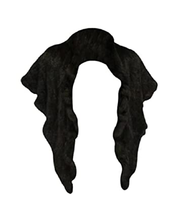 Bergama Natural Knitted Sable Stole with Ruffle edges - Black