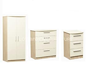 Gloss Furniture Set Cream Oak Trio Bedroom Furniture Set 2 Door