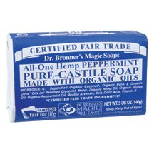 Dr. Bronner - Organic Peppermint Bar Soap, 5 oz bar soap ( Multi-Pack)