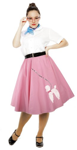 [Cotton Poodle Skirt - Small / Medium - Pink] (1940s Dance Costumes)