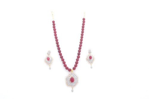 Sterling Raniya's Collections Sterling-Silver Pendant Set For Women ( Red )