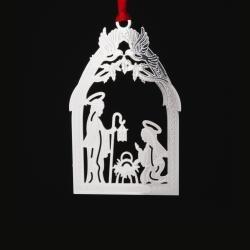 Silver Nativity Ornament