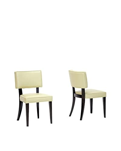 Baxton Studio Set of 2 Veronica Leather Dining Chairs, Cream