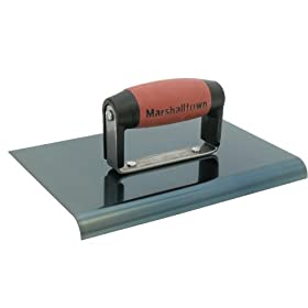Marshalltown 14161 9-Inch by 6-Inch Blue Steel Edger with DuraSoft Handle